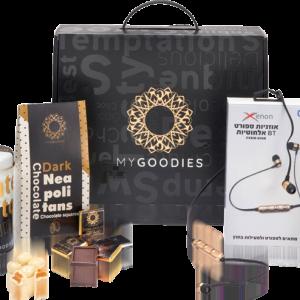 מארז מתנה לראש השנה הכולל אוזניות אלחוטיות ומגוון שוקולדים מובחרים