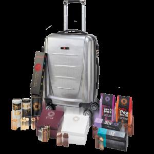 מארז מתנה לראש השנה עם מזוודת עליה למטוס חברת SWISS, מבחר תה איכותי ושוקולדים מובחרים