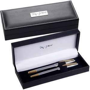 קופסת X-Pen מהודרת שחורה דמוי עור עם לוחית