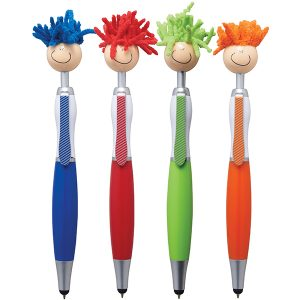 """""""פופ טופ"""" – עט פלסטיק קומי עם שיער לניקוי מסכי מגע וכרית טאץ'"""