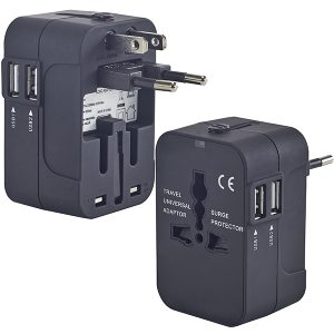 מתאם שקע חשמל בינלאומי כולל מטען כפול USB