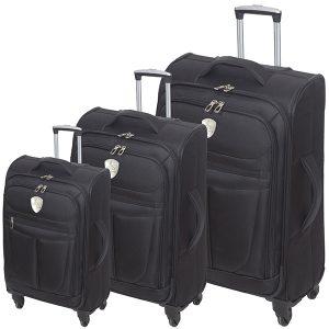 """סט שלוש מזוודות """"טרמינל"""" (שחור)"""