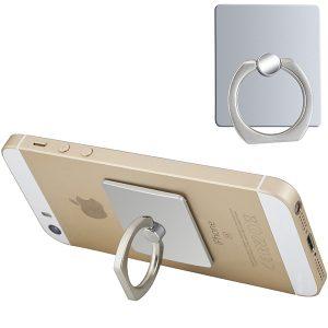 """RING"" – מחזיק כסוף לטלפון נייד עם טבעת אחיזה ומעמד לסלולרי"
