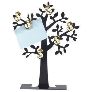 עץ הממון עשוי מתכת עם 6 סימני $ מגנטיים מוזהבים