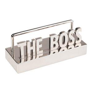 """""""THE BOSS"""" – מעמד כרטיסי ביקור מתכת מבריק"""