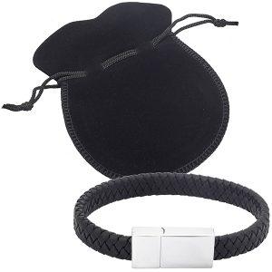 צמיד דיסק און קי 32GB מעור בעיצוב צמה שחורה בנרתיק לבד מהודר