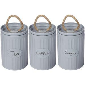 """סט """"קפה, תה סוכר""""- 3 קופסאות מתכת עם ידית חבל"""