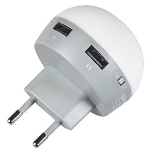 """GLOW"" – מטען קיר 2 יציאות USB נפח 2.1A ותאורת לילה מבית Charge-It"