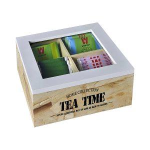 """TEA TIME"" – מארז עץ טבעי לתה עם 4 תאים"