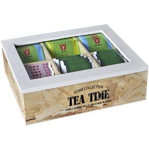 """TEA TIME"" – מארז עץ טבעי לתה עם 6 תאים"