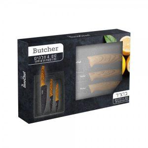 """""""בוצ'ר"""" – סט סכינים וקרש חיתוך"""
