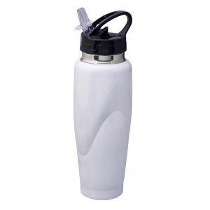 """סט """"חם / קר"""" –  טרמוס מתכת לבן ובקבוק ספורט מתכת"""