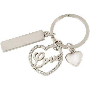 """LOVE"" – מחזיק מפתחות עם אבנים משובצות"