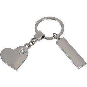 """מחזיק מפתחות לב עם """"לב יהלומים"""" קטן משולב"""