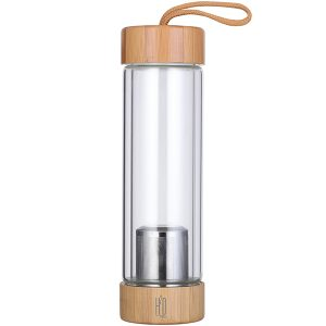 """""""TEA BREWING"""" בקבוק זכוכית דופן כפולה עם פילטר לחליטת תה מכסה במבוק מבית H2O"""
